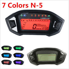 12V Motorcycle 7 Colors Backlit LCD Digital Speedometer Odometer Gauge Meter N-5