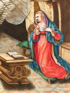 16 th century Annunciation Illuminated Leaflet