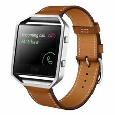 Cowhide Leather Watch Band Strap Bracelet Steel Frame For Fitbit Blaze Wristband