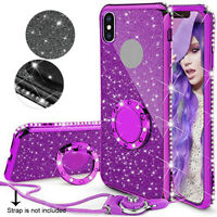 For iPhone Xs XR Xs Max 7 8 Plus Luxury Bling Glitter Soft Ring Stand Case Cover