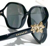 NEW* Coach HC8233 in BLACK w Matte Gold Flower Grey lens Women's Sunglass L1033