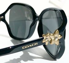 NEW* Coach HC8233 in BLACK w Matte Gold Flower Grey lens Women's Sunglass L1033