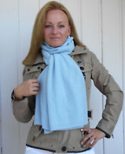LUXE OH `DOR 100% Kaschmir Cashmere Schal extra breit hellblau blau 170 x 45 cm