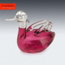 More details for novelty 20thc czech silver plated & glass duck shaped claret jug c.1960
