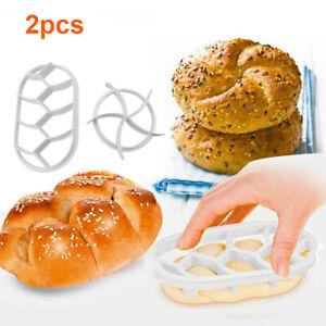 2PCS Dough Press Mold Set Baking Bread Rolls Mold Plastic Pastry Cutters Tool