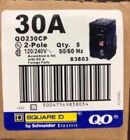BOX OF 5 SQUARE D QO230CP QO230 30AMP 2 POLE CIRCUIT BREAKER