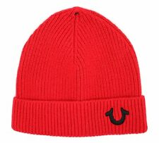 7a88ff4ab84b5 True Religion Red Ribbed Beanie Winter Hat One Size Logo Style   TR1828
