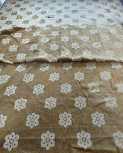 3 METERS OF BEIGE/GOLD FABRIC, CRAFT, UPHOLSTERY, SEWING, UK SELLER