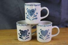 Blue Heart Sponge Art Coffee Mugs Stoneware Set of 3 Black Accent