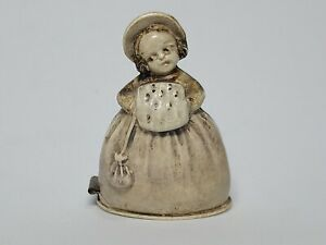 *antique CELLULOID TAPE MEASURE figural  YOUNG LADY IN WINTER DRESS w/ FUR MUFF*