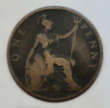 1899 One Penny, United Kingdom, Victoria (Bronze, 9.4 g), Ungraded