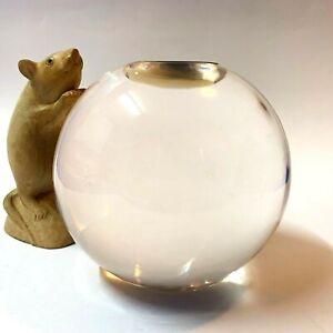 Spherical Tea Light Candle Holder - 12cm Diameter, Clear Solid Resin