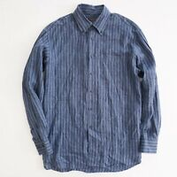 Canali Mens Button Up Long Sleeve Shirt Size XL Blue Stripe Linen Italy Made