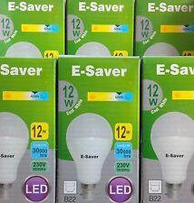 6x E-Saver, Energy Saving LED Light Bulbs, 12w, Globe, Cool White, B22 Bayonet