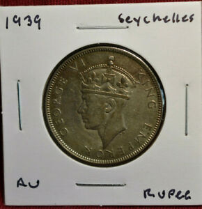 1939 Seychelles Rupee, AU Condition, Detailed Silver Coin, KM#4