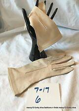 NOS Vintage Beige Deerskin Leather Embellished Gloves Size 6.5