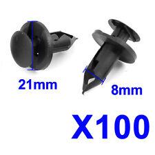 Black 100/pcs 8mm Car Hole Plastic Rivets Fastener Fender Bumper Push Pin Clips