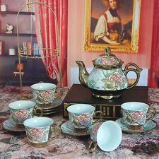 13 Piece European Titanium Gold Tea Set,Rose Printing Vintage Ceramic Tea Set