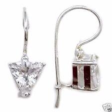Triangle Cut CZ French Hook Earrings Sterling Silver 925 Best Jewelry USA Seller