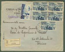 ETIOPIA. Lettera aerea raccomandata da Mogadiscio a Torino del 6.6.1938.