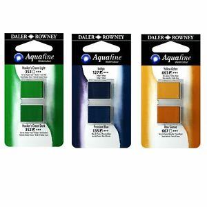 Daler Rowney Aquafine Watercolour Half Pans Twin Pack