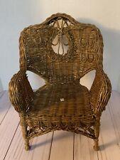 "Dark woven wicker elaborate chair for 18"" American Girl doll"