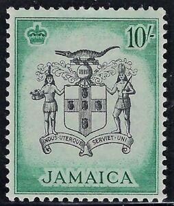"""JAMAICA (BRITISH) 1956  Sc #173  M/VVLH, VF-Superb, """"Arms of Jamaica""""  10sh FOG"""
