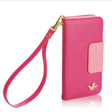 Hot PU leather phone case cover wallet card holder flip iphone 6 ROSE RED