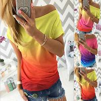 Women Summer Gradient Tops Casual Loose T-Shirt One Shoulder Short Sleeve Blouse