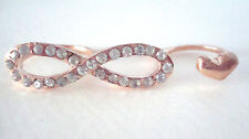 Gold Tone Triple Three Finger Eternity Heart Clear Diamante Statement Ring