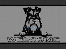 Schnauzer Dog Breed Peeking Over Welcome Home Doormat Door Mat Floor Rug