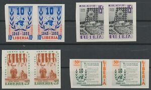 LIBERIA 1955 10 years United Nations (UN) superb set U/M VARIETIES: IMPERFORATED