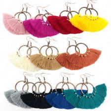 Hoop Fan Tassel Earring Fringe Circle Round Drop Straw Boho Earrings