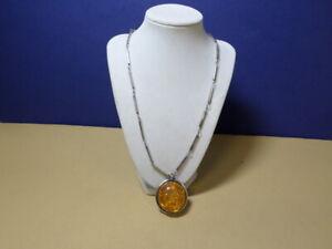 "VTG Antique  Amber Sterling Silver Extra Large Pendant Necklace 23"""