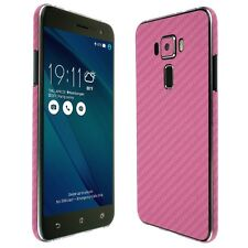 Skinomi Pink Carbon Fiber Skin+Clear Screen Protector for Asus ZenFone 3