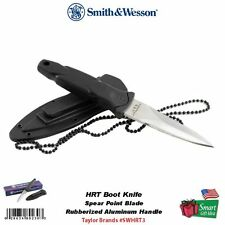 Smith & Wesson HRT Fixed Blade Boot Knife, SS Spear Point, w/Hard Sheath #SWHRT3