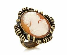 HSN Amedeo 25mm Cameo Bronze tone Frame Ring Size 8