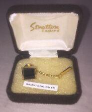 Boxed Stratton Vintage gold tone black onyx tie pin clip England tie pin lepel