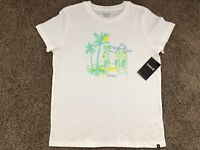 BRAND NEW HURLEY NIKE WOMEN'S T SHIRT TEE CREW HULA PARTY HAWAII GIRL WHITE TEE
