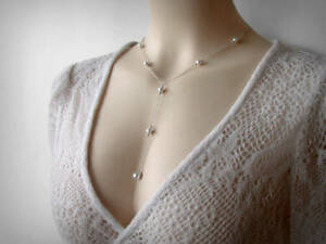 Y Lariat Necklace, Sterling Silver, Swarovski Faux Pearls. Long Sexy Necklace.