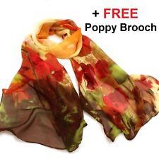 Poppy Floral Print Autumn Colour Lady Women Shawl Wrap Silk Feel Chiffon Scarf