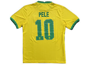 Pele #10 Brasil 2020 Yellow Soccer Jersey Men Size L Large Free ShipReturn