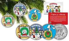 PEANUTS CHRISTMAS Charlie Brown JFK Half Dollar 3-Coin Set Tree Ornaments SNOOPY