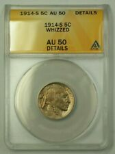 1914-S US Buffalo Nickel 5c Coin *Scarce Date* ANACS AU-50 Details Whizzed