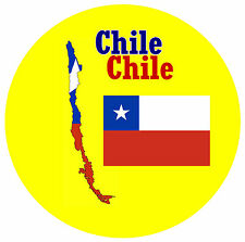 CHILE, SOUTH AMERICA - MAP / FLAG - ROUND SOUVENIR FRIDGE MAGNET - NEW - GIFT