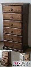 BANKSIA CONSTRUCTED TIMBER TALLBOY SLIM LINGERIE CHEST OF 6 DRAWERS  SMOKEY ASH