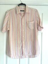 EASY MEDIUM  WHITE BRIGHTLY STRIPED SHORT SLEEVED PURE LINEN SHIRT CLASSIC FIT