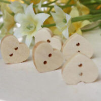 EG_ 100PCS 2 HOLES HEART SHAPED RUSTIC BUTTONS FOR SEWING CRAFTS SCRAPBOOKING LO
