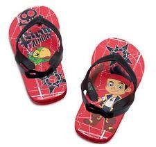 Disney Store Little Boys Jake & Never Land Pirates Flip Flops 7-8 Sandals Shoes