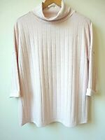 New Womens Pale Pink Roll Neck 3/4 Sleeves Ribbed Fine Knit Jumper Size 12-18